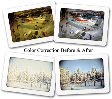 Slide scanning collor correction before and after